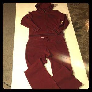 Polo Sweatpants and sweat shirt set Burgundy color